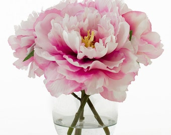 Silk Peonies Arrangement with Fuchsia Silk Flowers Artificial Faux Florals in Round Glass Vase for Home Decor