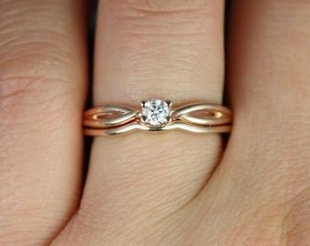 Erika 3.5mm 14kt Rose Gold Round Diamond Double Twist Wedding Set (Other metals and stone options available)