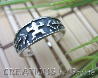 Sterling Silver Ring, Aztec Lizard Symbol Band Size 7.5, 925 Black Silver Embossed Symbols Egypt Egyptian / Vintage FREE SHIPPING (153)