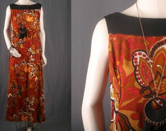 Maxi dress FLoral Paisley Orange Yellow 70s flower power women size M or L medium or Large