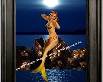 Mermaid Pinup Art Print 8 x 10 - Pin Up Siren of the Sea on Rock