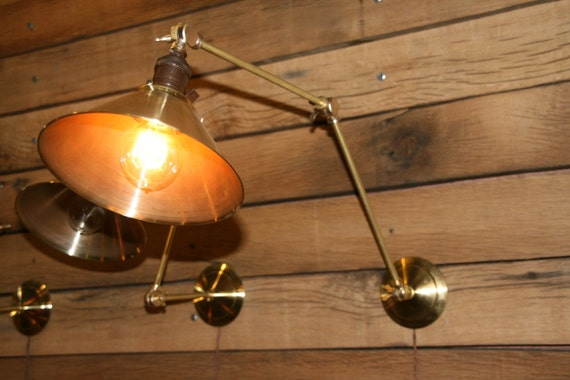 Custom listing for MCurling - Qty of 2 Brass Wall Sconce, Industrial Articulating Wall Lamp with Vintage Style Brass Cone Shade