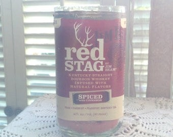 Jim Beam Red Stag Candle made from a  Recycled Jim Beam 1Liter Glass Bottle