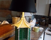 Vintage Hollywood Regency Pagoda style faux bamboo metal lamp