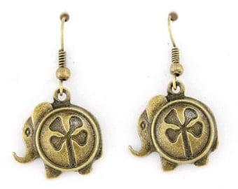 Simple Cute Gold-tone Small Elephant Dangle Drop Earrings