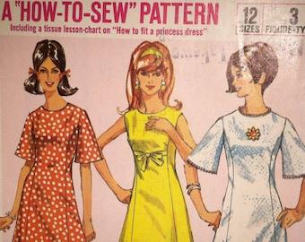 1966 Simplicity Vintage Pattern - Misses Dresses - A-Line, Princess Cut