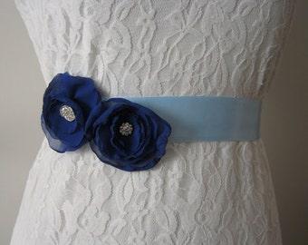 CLEARANCE - Blue Bride and Bridesmaid Sash, Bridal Belt, Flower Sash, Blue Bride Belt, Rhinestone Wedding Sash, Prom Sash