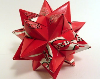Medium Origami Star Made From Licensed Cincinnati Reds Paper, Cincinnati Baseball Star, Reds Baseball Decoration
