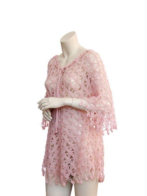 Hand Crochet tunic, Pink tunic, Powder color, tunic women