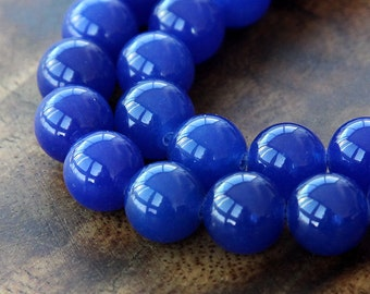 Dyed Jade Beads, Royal Blue Semi-transparent, 10mm Round - 15 inch strand - eSJR-B10-10