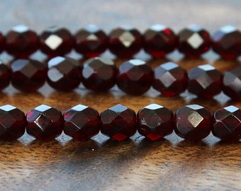Garnet Czech Glass Beads, 6mm Faceted Round - 50 pcs - e9011-6