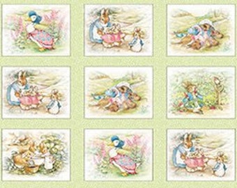 Country Tales BEATRIX POTTER and  Peter Rabbit 12  4 inch Mint blocks fabric  very rare,  impossible to find.  Last few.