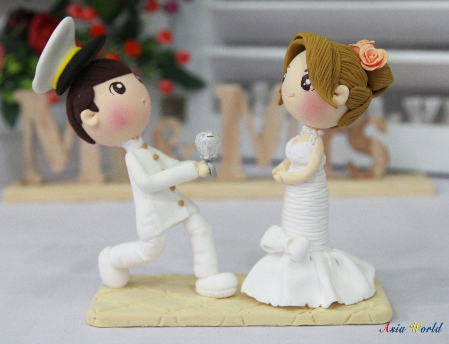 wedding cake topper marry me clay doll wedding ring cake topper zoom