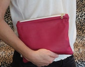 Magenta Pink, Lined Leather Clutch or Pouch - Upcycled, handmade, OOAK - 9 inches wide