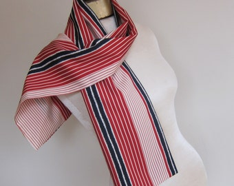 Long striped scarf for a man or a woman, vintage 70s. scarf, oblong vintage scarf, 1970s fashion