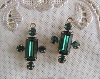 Swarovski Crystal Emerald Multi Stone Rhinestone 19MM Brass Connector Rectangle