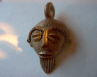 Vintage Brass Face Mask Pendant African    # Y 6