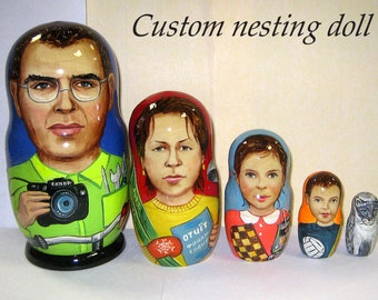 Custom nesting doll  Custom portrait /by photo       5 pieces