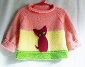 Baby Girl Sweater - 100% Cotton Pullover with Kitten Applique