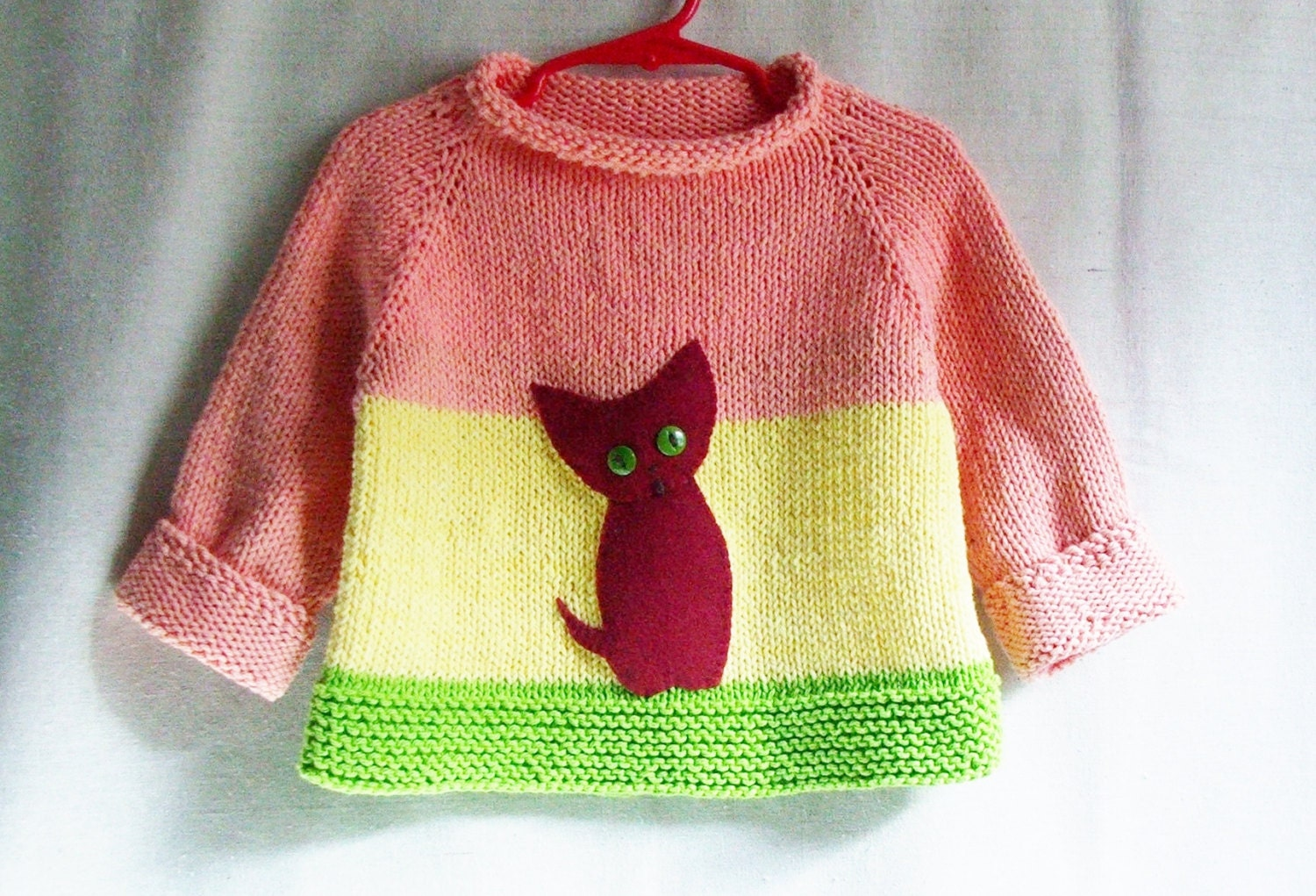 Baby Girl Sweater 100% Cotton Pullover with Kitten Applique