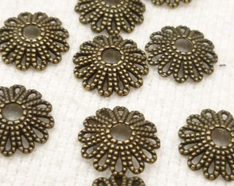 12mm Flower Style Bead Caps, Antiqued Bronze - (10) BF4