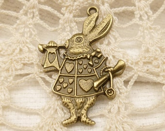 White Rabbit Alice in Wonderland Charm - Antique Bronze (4) - A120