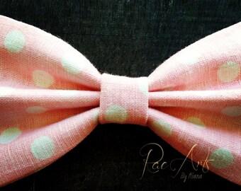Pale Pink Polka Dot Linen Hair Bow - Monster