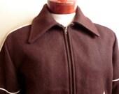 vintage 70's Fox Knapp dark chocolate brown camel brown wool collared college varsity club jacket size medium men women unisex