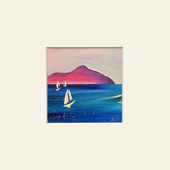 Scottish landscape, seascape print. Sailboats at Lamlash Bay, Arran
