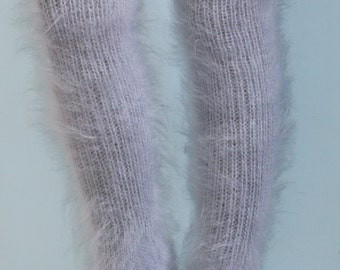 Gray hand knitted mohair socks