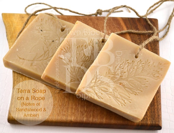 Sandalwood, Amber Soap on a Rope - Cold Process Soap - Soap for Men - Terra Luxury Vegan Soap