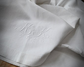 linen sheet antique embroidered