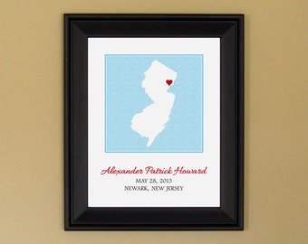 Newborn Baby Gift - Personalized Baby Name Art Print - Nursery Decor - Custom New Jersey State Map - 11 x 14
