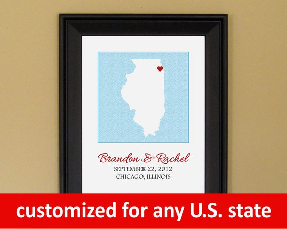Engagement Present - First Anniversary Gift - Personalized Wedding Art - Custom Chicago Illinois State Map - 11 x 14