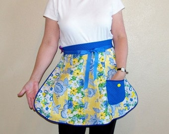 Retro Half Apron in Blue and Yellow Prints-One Size