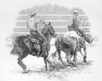 Team Roping, drawing of rodeo cowboys team roping at the rodeo, western cowboys, western drawing