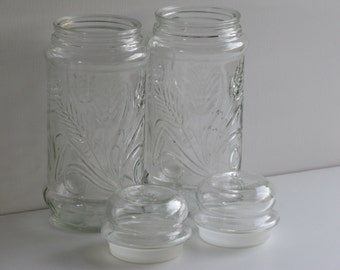 ANCHOR HOCKING COLLECTOR Jars/Planters Peanuts Collector Jars/Etched Wheat Pattern Jars/Kitchen Storage Jars/Kitchen Containers/Glass Jars