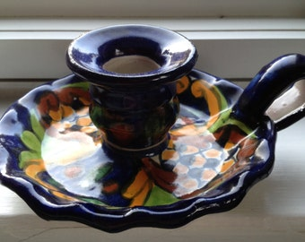 Mexican talavera candle holder hand painted