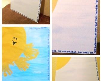 You are my Sunshine Handprint / Footprint Art - Custom, Personalized, DIY Hand Painted Art  8x10