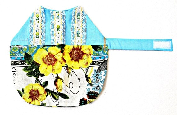 Dress for Yorkie or Other Little Dog - Baby Blue with Lace & Yellow, Sky Blue, Cinnamon and White Skirt
