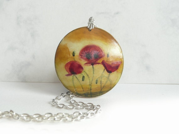 Big Pendnat Necklace, Hand Painted Poppy Necklace, Wooden Pendant, Small Painting Poppies, Nature Fine Art, Wood Jewelry, Original Artwork