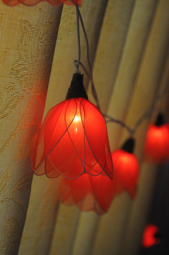 Red String Lights For Bedroom : 20 Red Tulip flower string light patio hanging by cottonlight