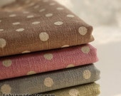 "Sale- Vintage Polka Dot Fabric, Dots Line Cotton Fabric, Linen Fabric, Linen Cotton, Fabric with Dots- 1/2 yard 18""X55"""