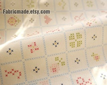 Korean Fabric Cloth - Natural White Cotton Linen Fabric With Cross Stitch Plaid Quilting Bedding Fabric1/2 Yard