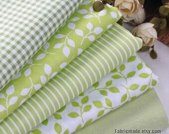"Fat Quarter Bundle / Spring Green Bundle Fabric / Quilting Fabric Bundle/ Light Green Fabric - 5 Bundle each 20""X30"""
