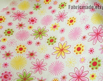 "Shabby chic Fabric, Flower Fabric Pink Yellow Petal on Light Beige Cotton Linen Fabric - Fabric by Yard 1/2 yard 18""X55"""
