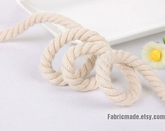 Natural Beige Twisted Cotton Strand Rope Decorative Rope Cotton Cord handbag handle making 8mm  - 5 Yards