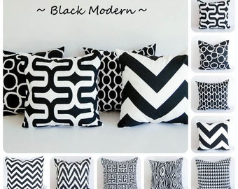 Black pillow cover One cushion cover black and white throw pillow
