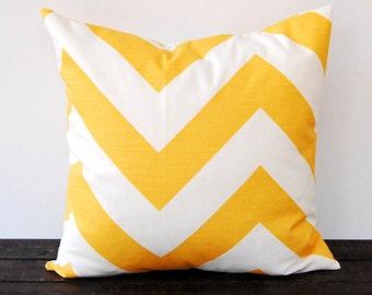 Yellow chunky chevron pillow cover One cushion covers mustard yellow and white throw pillow covers modern decor