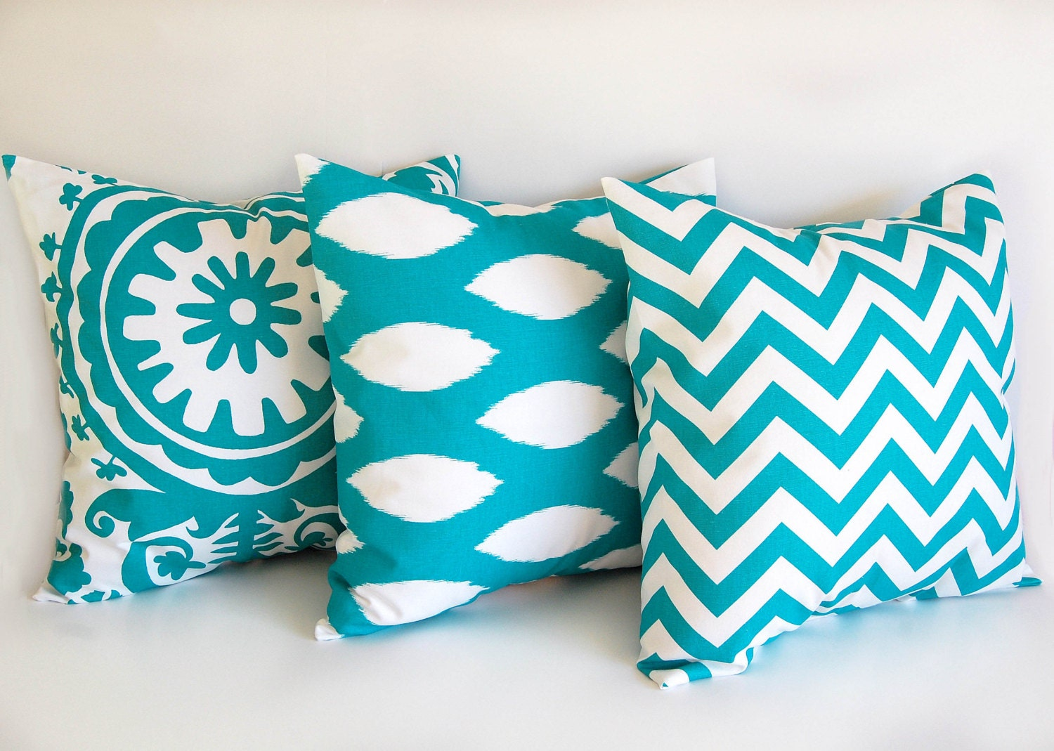 turquoise throw pillow covers 16 x 16 cushion by thepillowpeople. Black Bedroom Furniture Sets. Home Design Ideas